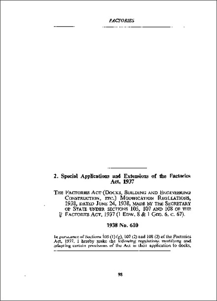 Factories Act (Docks, Building and Engineering Construction, etc) Modification Regulations 1938
