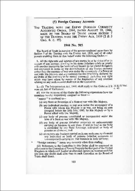 Trading with the Enemy (Foreign Currency Accounts) Order 1944