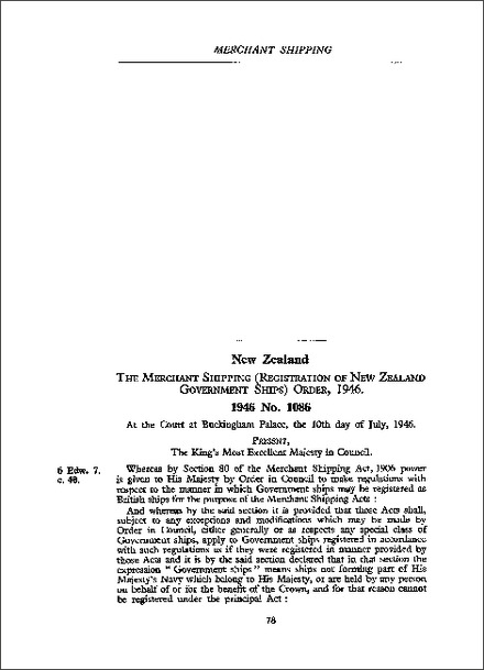 Merchant Shipping (Registration of New Zealand Government Ships) Order 1946