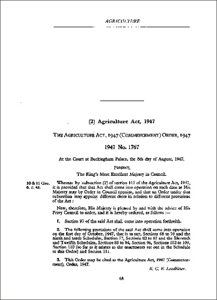 Agriculture Act 1947 (Commencement) Order 1947
