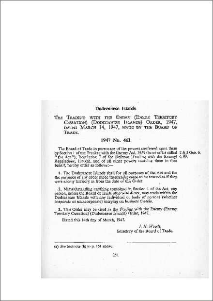 Trading with the Enemy (Enemy Territory Cessation) (Dodecanese Islands) Order 1947