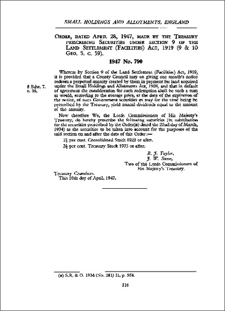 Order, dated April 28, 1947, made by the Treasury prescribing Securities under section 9 of the Land Settlement (Facilities) Act, 1919 (9 & 10 Geo. 5. c. 59)
